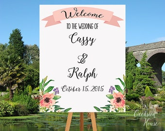 Printable Welcome Wedding Sign, Wedding Reception Sign, Summer Wedding Sign, Wedding Welcome Poster, Floral Wedding Sign, WS001