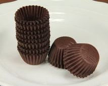 250x #4 Paper Liners Candy Nut Chocolate Cookie Baking Cups Brown 1'' X 1/2''
