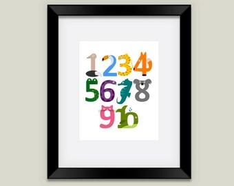 Animal Number Print, Children's Art for Nursery or Kid's Room