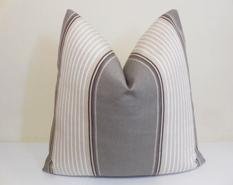 Awning Stripe Outdoor pillow Cover- Taupe- Beige- Ivory- Brown -Sunbrella fabric - Sunbrella Pillow