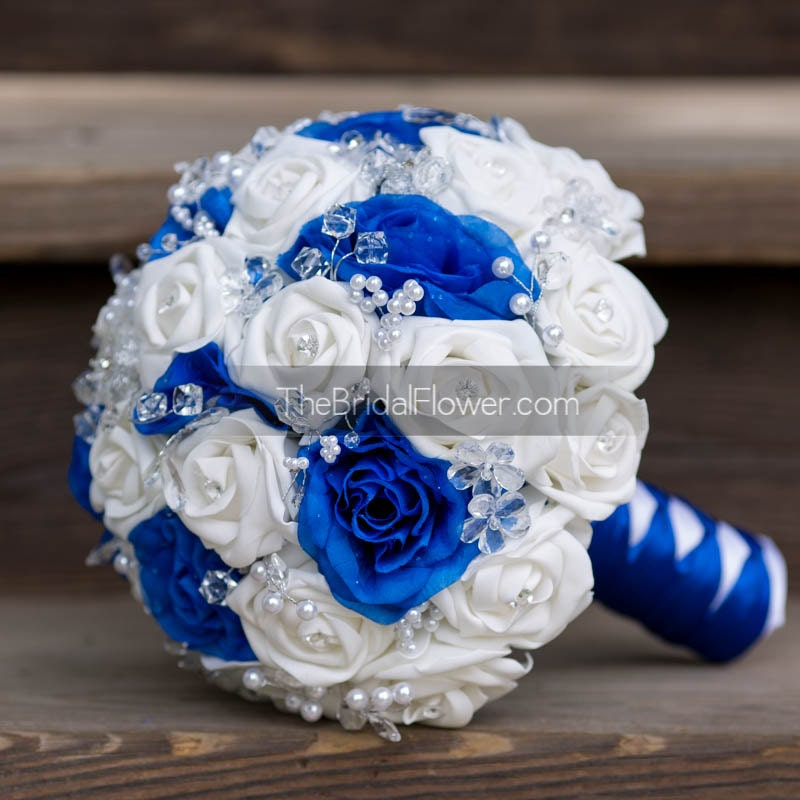 Royal Blue And White Wedding Bouquet With Crystals Bridal