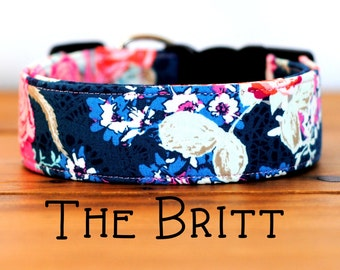"Navy Lace with Pink Modern Floral Dog Collar ""The Britt"""