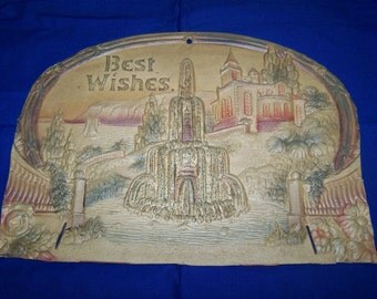Antique Pressed Cardboard Greeting Best Wishes Cardboard Cut Out