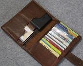 Genuine Leather bifold wallet--passport wallet--Men's Driving license wallet--Vegetable tanned leather