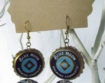 Blue Moon Beer Bottle Cap BEERings Upcycled Beer Jewelry Recycled Earrings Found Object Wearable Art