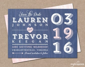 Rustic Modern Save the Date Postcard // DIY Printable Save the Date, Modern Rustic Wedding // Navy and Pink Wedding Invitation