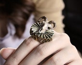 Lord Goat Skull Hand-Painted Color with Golden Ruff Ring / Brass Metal Work Adjustable Ring / Girl Woman Accessories