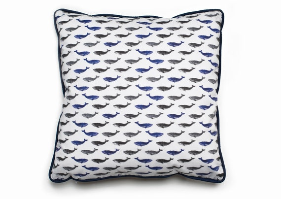 Items similar to Decorative Whale Print Cushion Cover // Blue Pillow Cover // Homeware // Piping ...