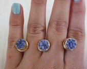 Multi-finger ring, double finger ring, druzy gold ring, brass knuckle ring, triple druzy stone ring