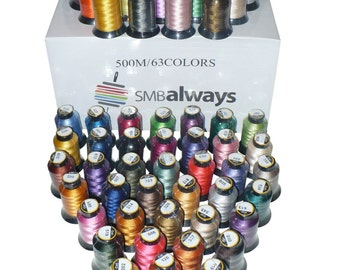 100% Polyester Embroidery Machine Thread Set, 63 Spools, Beautiful colors