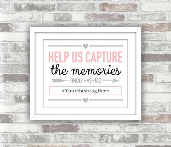 PRINTABLE - Hashtag Wedding Sign - Help us capture the memories - kindly hashtag - pink black grey - digital print file - 8x10