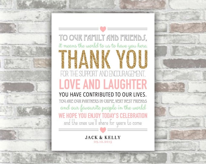 PRINTABLE Personalised Wedding Thank You Sign - Gold Glitter Pink Seafoam Green - Place Setting - Wedding Decor - 6x8 Welcome Print Thankyou