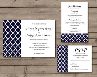Quatrefoil Printable Wedding Invitations or Wedding Suite: Choose Your Color