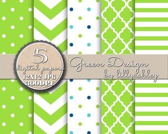 "Lime Green Digital Paper Pack of 5 ""Green Design""--12x12 JPG Commercial Use Digital Paper Lime Green Paper Chevron Paper Lime Green Chevron"