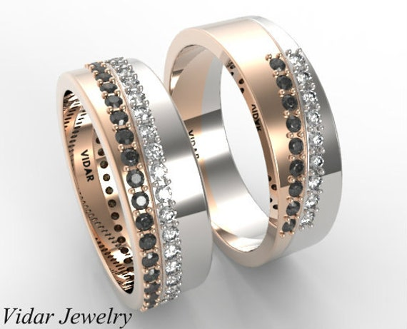 unique wedding ring set his and hers matching black and white wedding band 8190