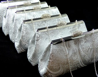 SALE 5% OFF Bridesmaid Clutches Set of Six Silver Paisley and Eggplant Bridesmaid Gift, Bridal Clutch, Bridesmaid Clutch Mother of the Bride