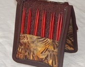 """12 pair capacity Interchangeable knitting needle and crochet hook keeper case storage for needles 3.5"""" to 6.25"""" in length up to size 9"""