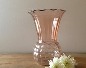 "Vintage 1930s Anchor Hocking Pink Depression Glass  ""Pineapple"" Vase Pattern 597"