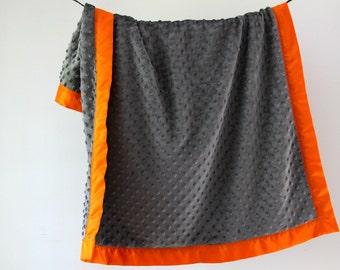 Baby Blanket, Gray Minky Dot with Orange Satin Trim