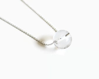 Clear Quartz and Sterling Silver Floating Necklace