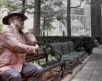 Statue on bench, HDR photograph, muted color, fine photography prints, The Silent Judge
