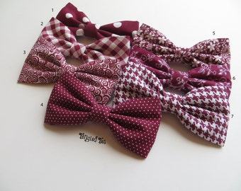 Mismatched Burgundy Wedding Bow Ties Wedding Bow Ties Groomsmen Bow Ties Mix and Match Burgundy Bow Ties
