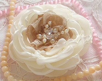 Singed Flowers in Handmade Satin Flowers Roses With Pearl and Crystal and Rhinestone (3.5 inches) In Cream Tan MY-347 Ready To Ship