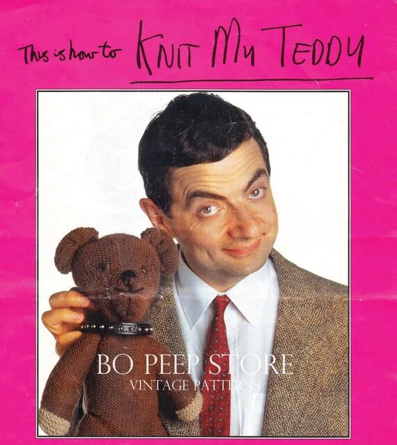Free Knitting Pattern For Mr Bean s Teddy Bear : Vintage Mr Bean Teddy Bear Toy Knitting Pattern PDF by BoPeepStore