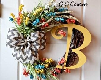 Spring Wreath,Wreaths,Wreaths for Front Door, Wild Flower Wreath,Monogram Wreath,Grapevine Wreath,Door Decoration,Home Decor,Wreath for Door