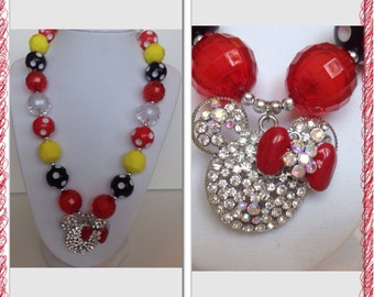 Minnie red and black chunky bubble gum necklace