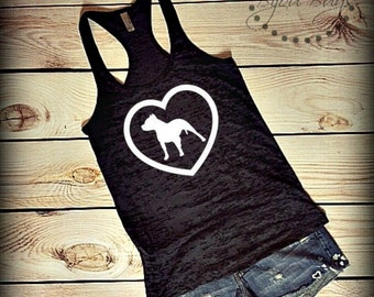 Pitbull Love - Design on Racerback Burnout Tank Top- Sizes S-XL. Other Colors Available