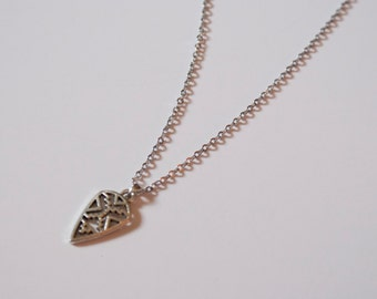 Tribal Patterned Silver Necklace