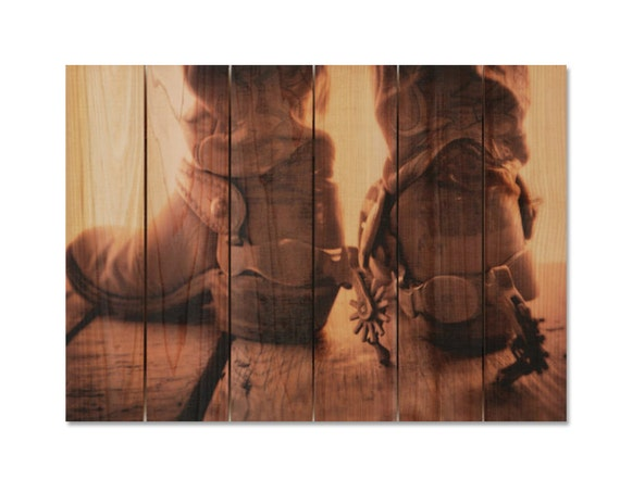 33x24 Cowboy Boots on Kiln Dried Western Red Cedar. Hang in or outside year round. (SD3324)