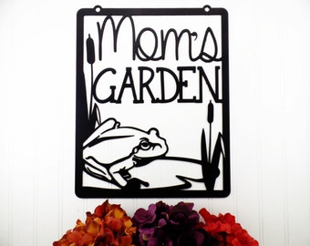 Mom's Garden Metal Art - Black, 12.5x15.5, Frog, Cattails, Outdoor Garden Decorations, Mother's Day Gift, Garden