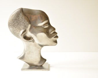 Vintage Cast Aluminum African Head - Head Sculpture
