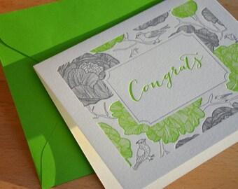Congrats Letterpress Card + Envelope - Birds Collection