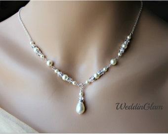 bridal jewelry pearl necklace rhinestone necklace Swarovski pearl and crystal Wedding Jewelry White Pearl Wedding Necklace V shape necklace