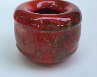 Vintage poppy flower pottery bud vase