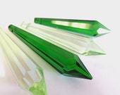 4 Spring Green & Dark Green Icicle Chandelier Crystal Prisms 80mm Shabby Chic