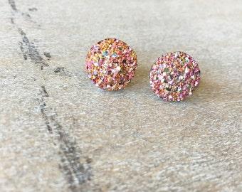 Rose Gold Shimmer Druzy Earrings - 12mm Gold Druzy -Titanium Studs- Sensitive Ears
