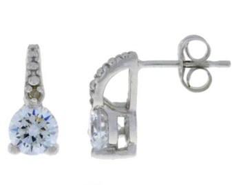 1 Ct White Topaz & Diamond Stud Earrings .925 Sterling Silver Rhodium Finish