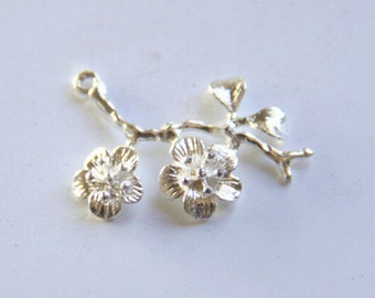 6 pcs of brass branch charm-1164-35x30mm-shinny silver
