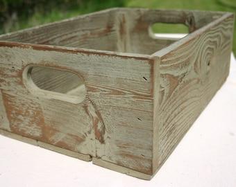 Handmade Reclaimed Wood Crate - Olive - Distressed Barnwood Storage Crate