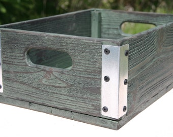 Handmade Reclaimed Wood Crate - Dark Green With Silver Metal Corners - Distressed Barnwood Storage Crate