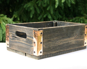 Handmade Reclaimed Wood Crate - Black With Copper Wrapped Corners - Distressed Barnwood Storage Crate