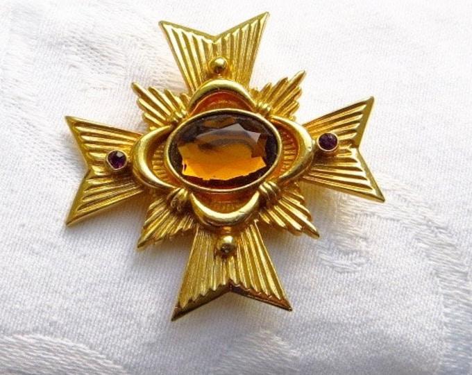 Maltese Cross Brooch, Maltese Pendant, Vintage Malta Cross Pin, Heraldic Jewelry