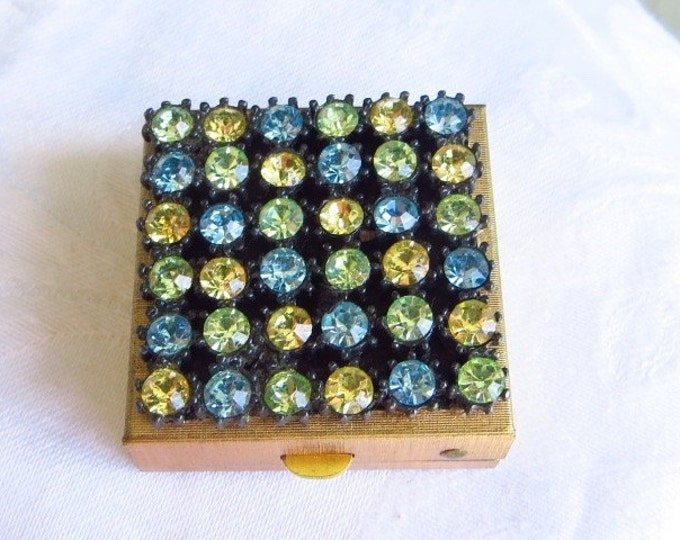 Rhinestone Pill Box Pill Case Vanity Box Vintage Jeweled Box