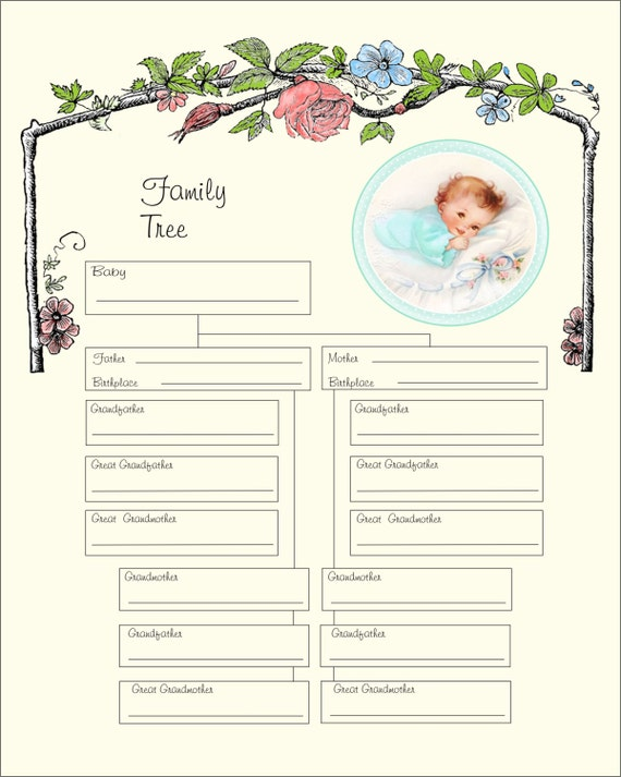 Printable Baby Boy Family Tree Printable Instant Download