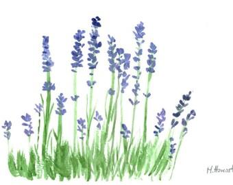 Lavender art original watercolour painting kitchen decor miniature painting 6 x 4 inch