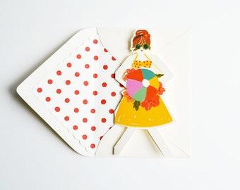 Beach Girl Paper Doll Card